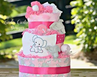 Girl Diaper Cake, Girl Elephant Diaper Cake, Pink Gray Diaper Cake, Baby Shower Diaper Cake Centerpiece, Girl Elephant Baby Gift Embroidered