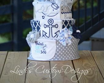 Boy Diaper Cake, Nautical Diaper Cake, Sailor Diaper Cake, Ships O'Hoy Diaper Cake, Blue Diaper Cake, Whale Diaper Cake Baby Shower Decor