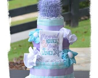 Girl Diaper Cake, Mermaid Diaper Cake, Mermaid Baby Shower Gift Table Centerpiece, Mermaid Kisses Starfish Wishes, Under the Sea Diaper Cake