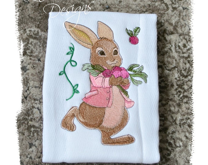 Girl Embroidered Baby Gift, Girl Burp Cloth Embroidered, Peter Cottontail inspired Baby Gift, Bunny Burp Cloth, Girl Bunny Embroidered Gift