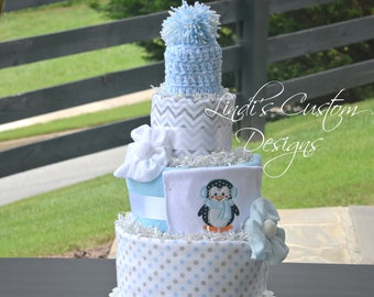 Baby It's Cold Penguin Baby Shower, Baby It's Cold Diaper Cake, Boy Diaper Cake, Penguin Diaper Cake, Baby It's Cold Baby Shower Decor Table