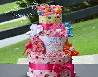 Girl Diaper Cake, Candyland Sweet Diaper Cake, Girl Shower Table Centerpiece, Girl Embroidered Baby Gift, Corporate Baby Gift, Sugar Spice