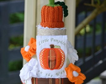 Fall Diaper Cake, Little Pumpkin on the Way Embroidered Diaper Cake Baby Shower Table Centerpiece Decor Gift, Embroidered Autumn Baby Gift