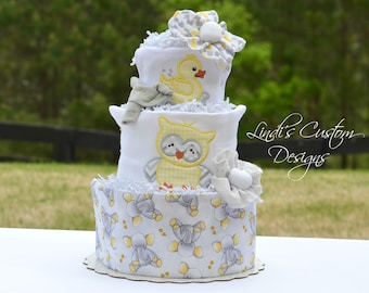 Neutral Diaper Cake, Embroidered Baby Animals Diaper Cake Yellow Gray, Baby Shower Table Centerpiece Gift, Elephant Owl Ducky Diaper Cake