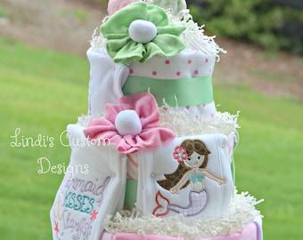 Girl Mermaid Diaper Cake Embroidered, Mermaid Baby Shower Cake Table Centerpiece, Mermaid Baby Gift, Pink Mint Green Mermaid Diaper Cake