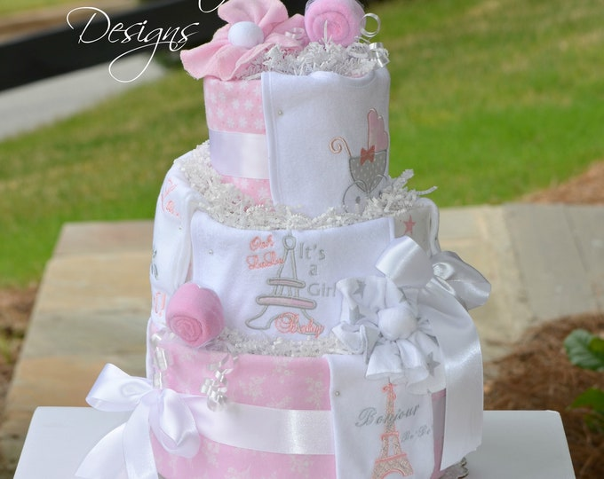 Girl Diaper Cake, Paris Diaper Cake, Pink Gray Diaper Cake, Baby Shower Table Centerpiece Gift, Embroidered Girl Diaper Cake, Eiffel Tower