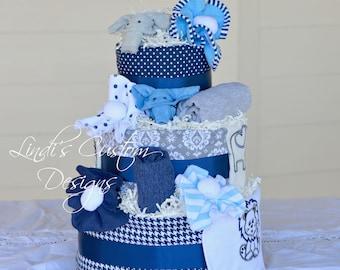 Boy Diaper Cake, Boy Safari Diaper Cake, Blue Gray Diaper Cake, Elephant Giraffe Lion Safari Diaper Cake, Table Centerpiece, New Baby Gift