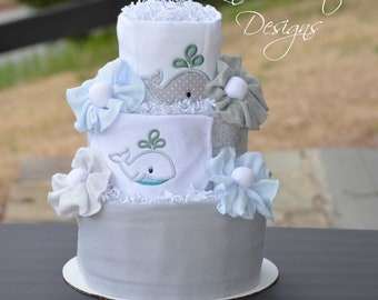 Neutral Whale Diaper Cake, Silver Gray Embroidered Baby Shower Table Centerpiece, Under the Sea Maritime Baby Shower Diaper Cake Gift