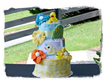 Rubber Ducky Diaper Cake, Gender Neutral Diaper Cake, Bath Time Rubber Ducky Baby Shower Table Decor Gift Centerpiece, Gender Reveal Gift