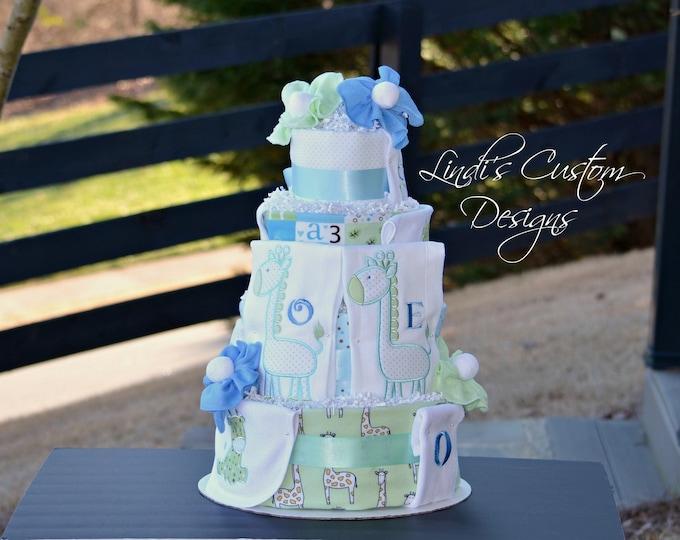 Twin Baby Shower, Twin Boy Diaper Cake Gift, Giraffe Embroidered Diaper Cake for Twins, Twin Boy Baby Gift, Giraffe Safari Baby Shower