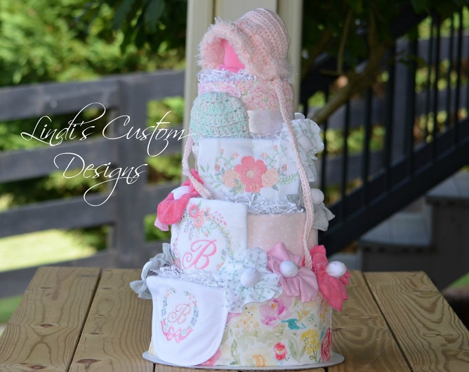 Watercolor Floral Diaper Cake Baby Shower Gift Centerpiece, Embroidered Personalized Girl Diaper Cake, Newborn Girl Gift, Hospital Baby Gift