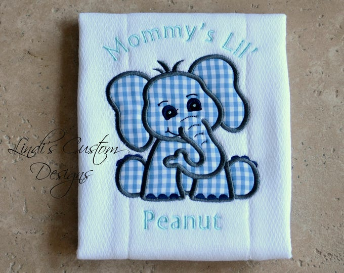 Personalized Elephant Burp Cloth, Embroidered Burp Cloth, Unique Baby Gift, Mommy's Lil' Peanut Baby Gift, Lil' Peanut Burp Cloth, Elephant