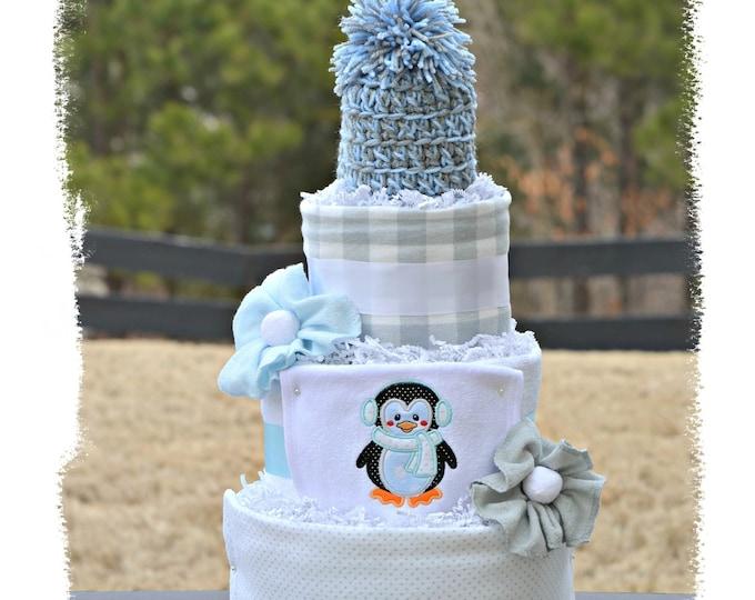 Snowy Penguin Diaper Cake, Penguin Baby Shower Table Centerpiece Decor, Baby Boy Diaper Cake, Blue Gray Winter Diaper Cake Gift, Unique Baby