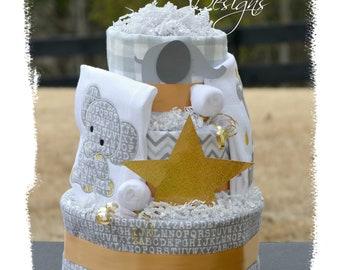 Elephant Diaper Cake Silver Gold, Neutral Elephant Diaper Cake, Baby Shower Elephant Centerpiece Cake, Gender Reveal Baby Gift, Modern Cake