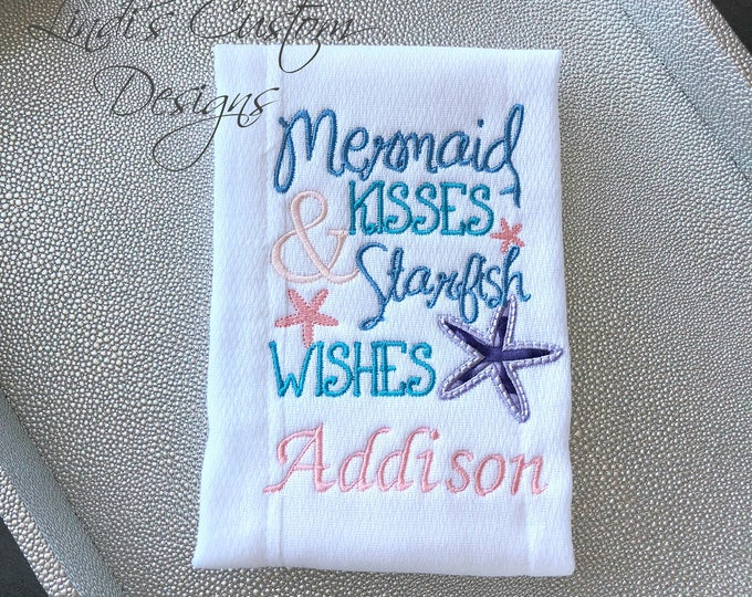 Embroidered Burp Cloth Mermaid Kisses, Mermaid Baby Shower, Unique Baby Gift, Burp Cloth Embroidered, Personalized Baby Gift, Starish Wishes