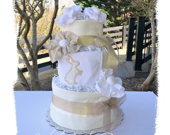 Neutral Diaper Cake, Bunny Diaper Cake, Ivory Cream Gold Baby Shower Table Gift Centerpiece, Embroidered Baby Gift, Gender Reveal Baby Gift
