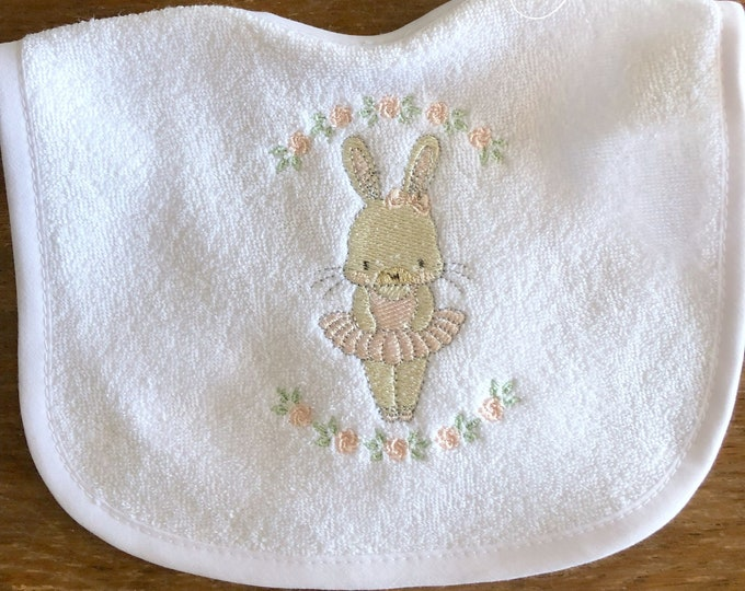 Girl Baby Bib, Classic Bunny Tutu Embroidered Baby Bib, Girl Baby Gift, Unique Baby Gift, Bunny Bib, Tutu Baby Bib, Embroidered Baby Gift
