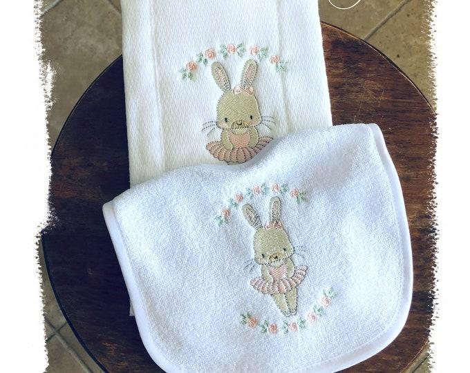 Girl Baby Gift, Bunny Tutu Bib Burp Set, Embroidered Girl Bib Burp Cloth Set, Classic Blush Pink Bunny Tutu Baby Shower Gift Set, Bunny Bib