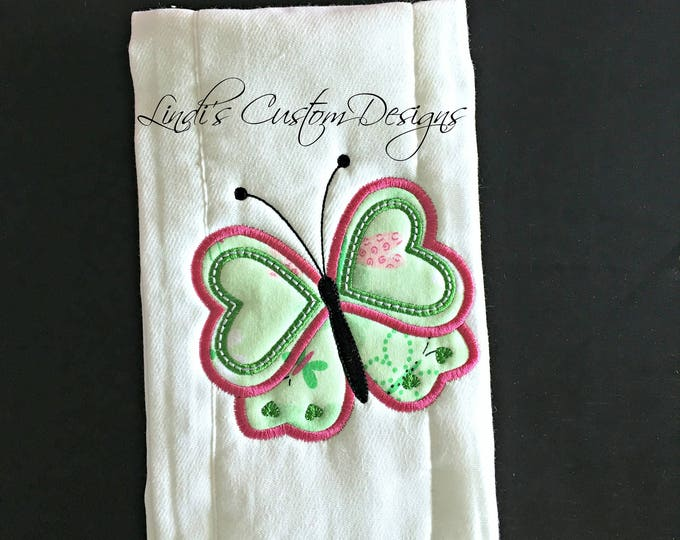 Girl Butterfly Burp Cloth/ Embroidered Butterfly Burp Cloth/ Unique Baby Gift/ Butterfly Baby Gift/ Butterfly Baby Shower/ Girl Baby Gift