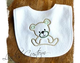 Neutral Baby Gift, Neutral Baby Bib, Embroidered Bear Baby Bib, Mint Hunter Green Baby Bib, Teddy Bear Baby Gift, Teddy Bear Embroidered Bib
