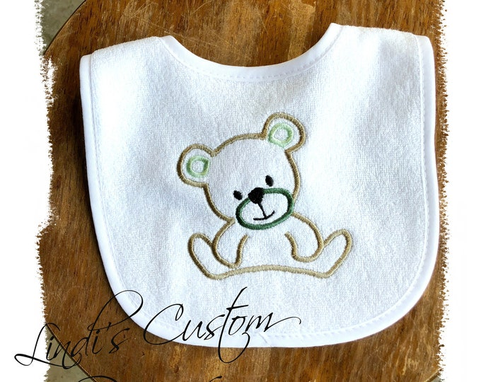 Neutral Baby Gift, Neutral Baby Bib, Embroidered Bear Baby Bib, Mint Hunter Green Baby Bib, Teddy Bear Baby Gift, Teddy Bear Embroidered Bib