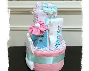 Girl Diaper Cake, Narwhal Diaper Cake, Mermaid Diaper Cake, Under the Sea Diaper Cake, Narwhal Baby Shower, Mermaid Baby Shower, Girl Gift