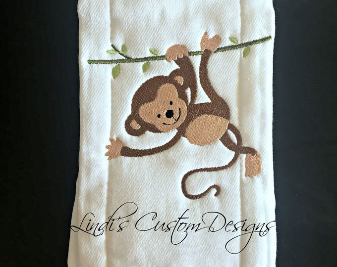 Boy Baby Shower Gift, Embroidered Personalized Burp Cloth Gift, Safari Jungle Baby Gift, Embroidered Baby Gift