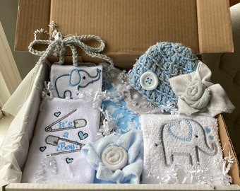 Baby Shower Gift Set, Embroidered Baby Box Set, Embroidered Baby Gifts, Blue Gray Baby Shower, Unique Baby Gift Boy, Bib Burp Cloth Set