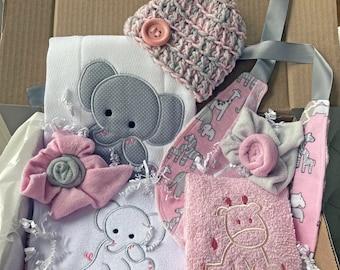 Baby Shower Gift Set, Embroidered Baby Box Set, Embroidered Baby Gifts, Elephant Safari Baby Shower, Unique Baby Gift Girl, Bib Burp Set