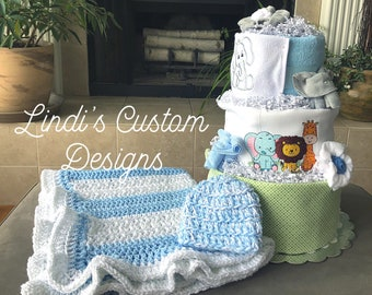 Boy Jungle Safari Diaper Cake Gift Set with Matching Crochet Baby Blanket and Beanie Hat, Boy Baby Shower Decoration Gift, Embroidered Gift