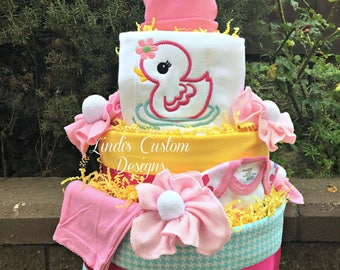 Girl Diaper Cake, Bath Time Diaper Cake, Rubber Ducky Diaper Cake, Baby Shower Table Centerpiece, Embroidered Baby Gift, Newborn Gift