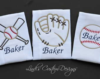 Boy Baby Gift, Baseball Baby Gift, Embroidered Baseball Burp Cloth Set, Baby Shower Gift, Baseball Theme Baby Gift, Personalized Baby Gift