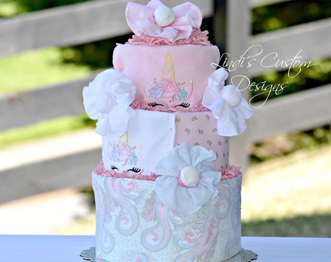 Unicorn Baby Gift, Girl Diaper Cake, Girl Baby Gift, Unicorn Baby Shower Table Centerpiece Decor, Embroidered Unicorn Diaper Cake Baby Gift