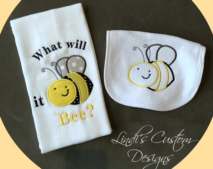 Bee Embroidered Baby Gift, Bee Burp Cloth and Bib Set, Unique Baby Gift, Gender Neutral Baby Gift, What Will it Bee gift set, Gender Reveal