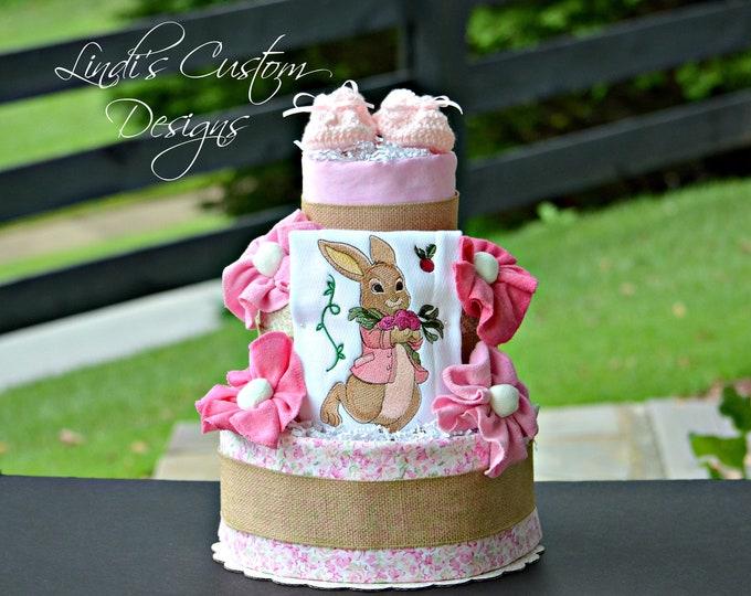 Girl Diaper Cake, Peter Cottontail Diaper Cake, Beatrix Potter inspired Diaper Cake Gift Centerpiece, Girl Bunny Baby Shower Diaper Cake
