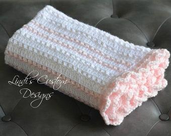 Girl Baby Blanket, Crochet Girl Baby Blanket, Pale Pink White Hand Crochet Baby Blanket, Girl Baby Shower Gift, Girl Nursery Decor, Handmade