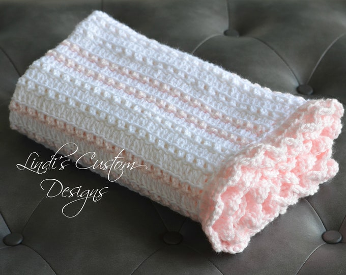 Girl Baby Blanket, Crochet Girl Baby Blanket, Pale Pink White Hand Crochet Baby Blanket, Girl Baby Shower Gift, Girl Nursery Decor, Handmade