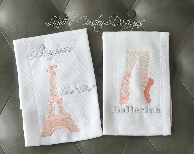 Girl Embroidered Baby Gift, Paris Eiffel Tower Ballerina French Baby Gift, Pink Gray Baby Shower Gift Set, Bonjour BeBe Ballerina Burp Set