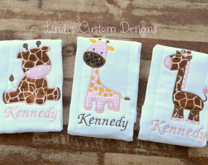 Giraffe Embroidered Burp Cloth Set, Pink and Brown Baby Girl Giraffe Baby Gift, Unique Baby Gift, Giraffe Baby Shower Gift, Giraffe Shower