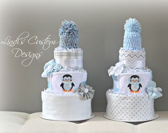 Twin Boy Diaper Cake Gift, Penguin Twin Boy Diaper Cakes, Penguin Baby Shower Gift, Baby it's Cold Shower Table Centerpiece, Twin Boy Gift