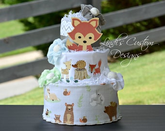 Woodland Animals Diaper Cake, Boy Diaper Cake Gift, Woodlands Forest Rustic Baby Shower Table Centerpiece Decor, Embroidered Diaper Cake