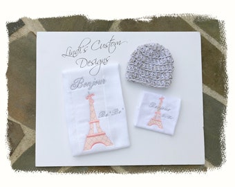 Girl Embroidered Baby Gift Set, Crochet Newborn Beanie Hat, Embroidered Paris Eiffel Tower Burp Cloth and Washcloth Set, Bonjour BeBe Shower