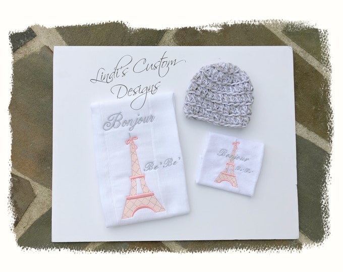 Girl Embroidered Baby Gift Set, Crochet Newborn Beanie Hat, Embroidered Paris Eiffel Tower Burp Cloth and Washcloth Set, Bonjour BeBe Shower