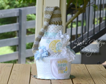 Twinkle Twinkle Diaper Cake, Embroidered Sleepy Time Diaper Cake Baby Shower Table Centerpiece Gift, Boy Baby Shower Decoration Gift Set
