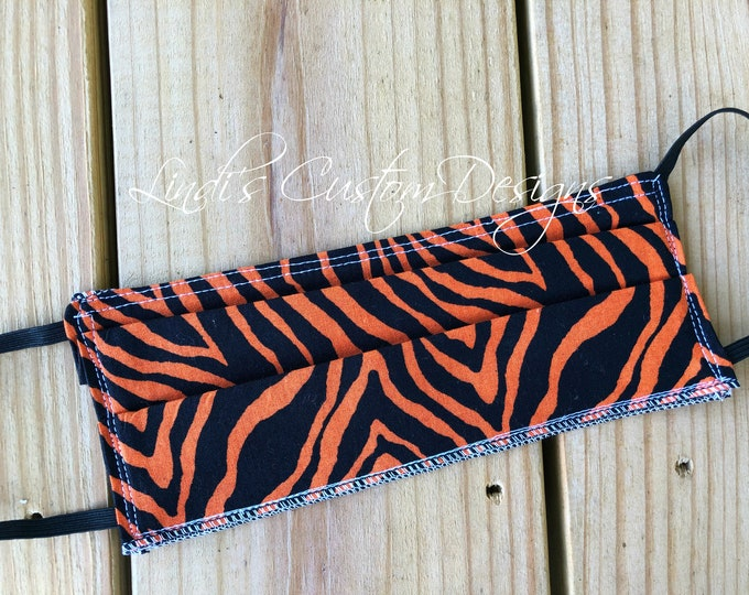 Face Mask Tiger Print Fabric Design, Cosmetic Face Mask, Orange Black Tiger Face Mask, Fabric Face Mask, Halloween Fabric Face Mask