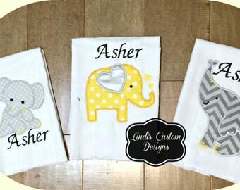 Elephant Embroidered Burp Cloth Set/ Yellow Gray Elephant Gift/ Embroidered Elephant Baby Gift/ Unique Baby Gift/ Elephant Burp Cloth Set