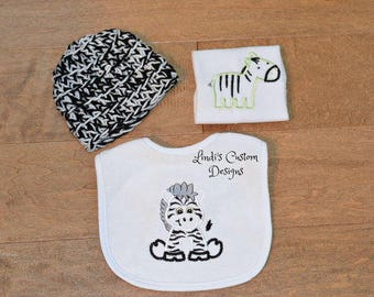 Zebra Baby Gift Set, Embroidered Zebra Baby Gift, Crochet Newborn Hat, Zebra Washcloth and Bib Set, Unique Baby Gift, Neutral Baby Gift Set