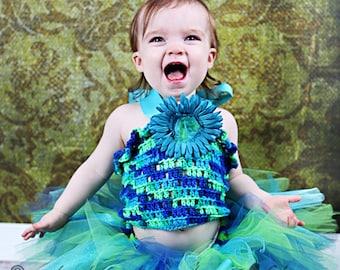 Baby Toddler Tutu Set, Blue Green Aqua Ocean Under the Sea Theme Mermaid Tutu Set, 1st 2nd Birthday Cakesmash Party Tutu Outfit, Mermaid