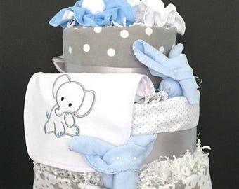Boy Diaper Cake, Elephant Diaper Cake, Blue Gray Elephant Diaper Cake, Embroidered Elephant Baby Gift, Safari Elephant Diaper Cake Gift