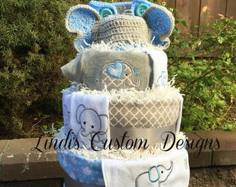 Elephant Baby Shower, Boy Diaper Cake, Elephant Diaper Cake, Blue Gray Elephant Diaper Cake, Baby Shower Table Centerpiece Gift
